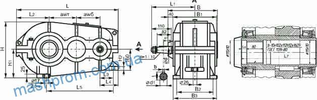 Редукторы цилиндрические двухступенчатые горизонтальные ГПШ-400, ГПШ-500