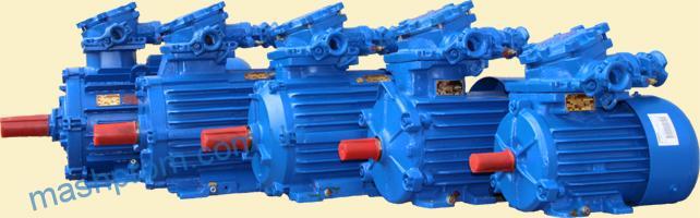 Асинхронные короткозамкнутые взрывозащищенные электродвигатели серий АИММ, РВ-ЗВ, АИУ, АИУМ, ВМЭУ